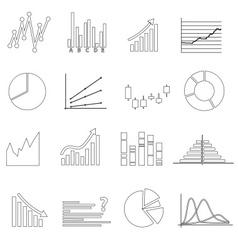 Black outline simple graphs variations set eps10 vector