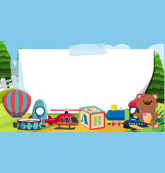 Border template with many toys in park vector