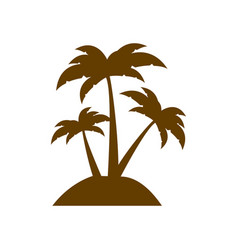 brown silhouette island with three palms vector image