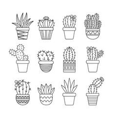 Cactus set black vector
