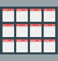 calendar for 2020 starts monday calendar vector image