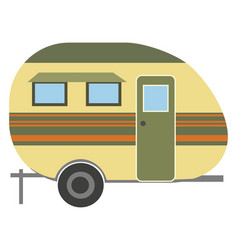 camping trailer caravan isolated on white icon vector image