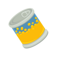 Cartoon canned corn in yellow solid tin container vector