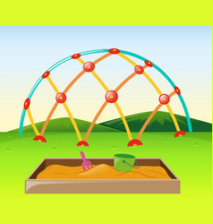 Climbing dome and sandpit in the park vector
