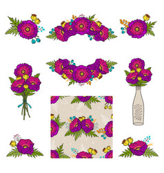 collection floral elements vector image