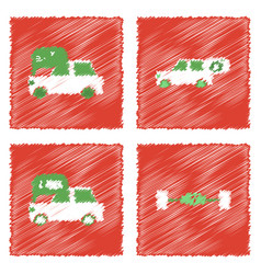 collection of icons and vehicle parts in hatching vector image
