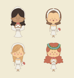 Color background of set four woman in wedding vector