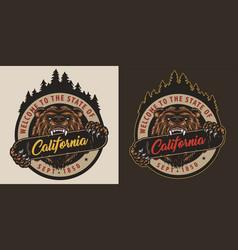 Colorful vintage skateboarding round label vector