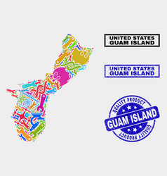 Composition tools guam island map and quality vector