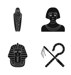 Crook and flaila golden mask an egyptian a vector