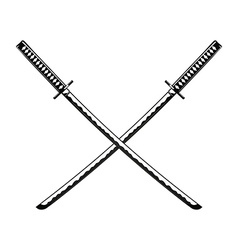 Crossed Samurai Swords isolated on white vector image