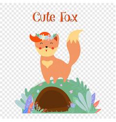 Cute fox in flower wreath stand on foxy burrow vector