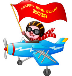 cute pig cartoon riding on a plane with a banner o vector image