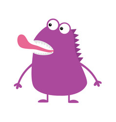 cute violet monster icon happy halloween cartoon vector image