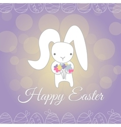 Cute white Easter Bunny spring flower vector