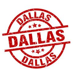Dallas red round grunge stamp vector