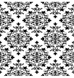 Damask black and white seamless pattern vector
