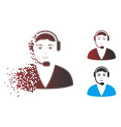 Dispersed pixel halftone call center operator icon vector