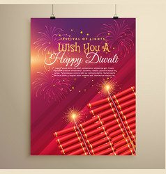 diwali greeting card template design with vector image