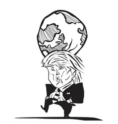 donald trump and earth at his head caricature vector image