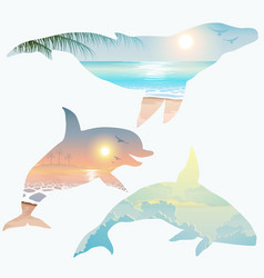 Double exposure whale dolphin wildlife concept vector
