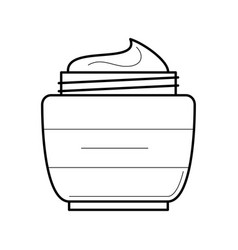 Face cream jar thin line icon vector