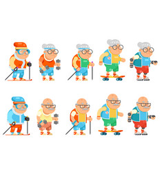 fitness granny grandfather adult healthy vector image