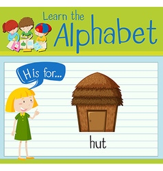 Flashcard letter H is for hut vector