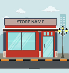 Flat design store front with place for name vector