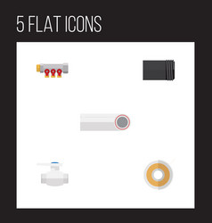 flat icon pipeline set of pipework tube flange vector image