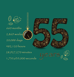 floral card number fifty five and pocket watch vector image