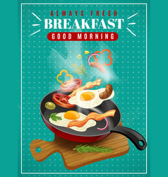 fresh breakfast poster vector image