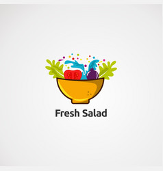 fresh salad logo in bowl icon element and vector image
