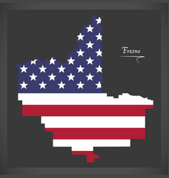 fresno california map with american national flag vector image
