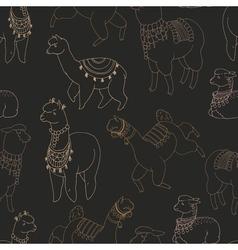 Fun alpaka and lama in festive decorations vector