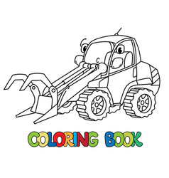Funny log handler car with eyes coloring book vector