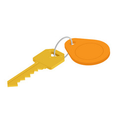 golden key with blank orange tag isometric view vector image