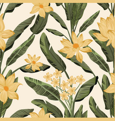 Green leaves flowers seamless yellow background vector