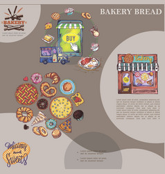 Hand drawn baking products template vector