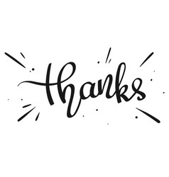 Handwritten word thanks vector