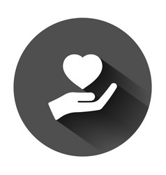 Heart care icon in flat style charity on black vector