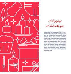holiday celebration concept banner in line style vector image