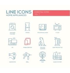 Home Appliances - simple line design icons set vector