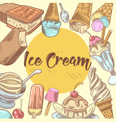ice cream hand drawn menu design vector image