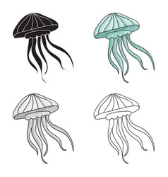 Jelly fish icon in cartoon style isolated on white vector