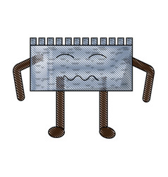 Kawaii castle wall icon vector