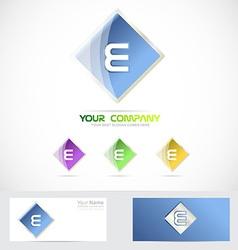 Letter e rhombus logo blue vector