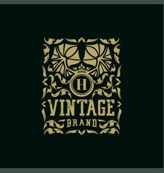 Letter h vintage logo design vector