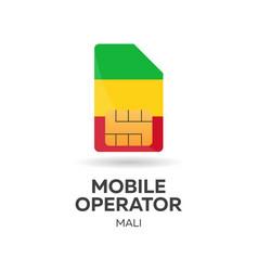 Mali mobile operator sim card with flag vector