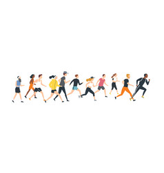 men and women dressed in sports clothes running vector image
